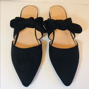 EUC Chase + Chloe Black Textile Slip-On Bow Flats